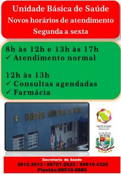 SECRETARIA DA SAÚDE COM NOVOS HORÁRIOS