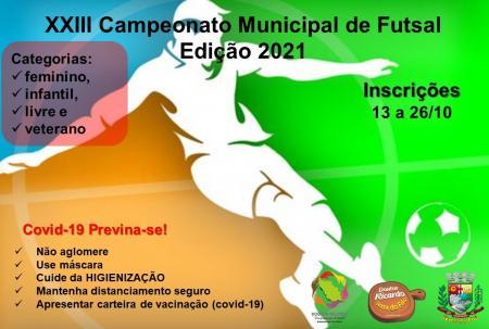 XXIII CAMPEONATO MUNICIPAL DE FUTSAL – EDIÇÃO 2021