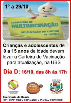 SÁBADO, 16/10, É DIA DA CAMPANHA DE MULTIVACINAÇÃO